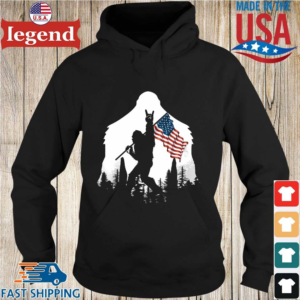 Bigfoot Rock And Roll Silhouette American Flag s Hoodie den