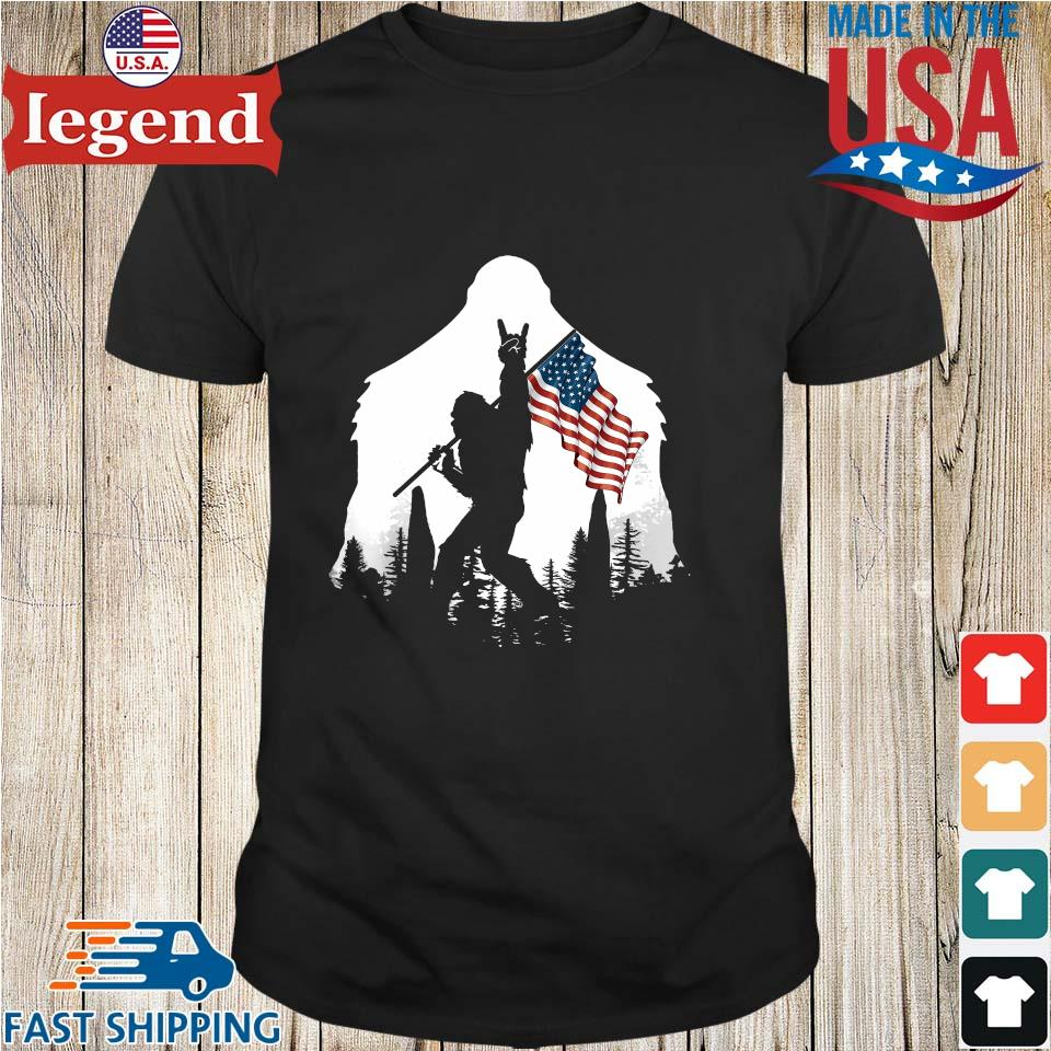 Bigfoot Rock And Roll Silhouette American Flag shirt
