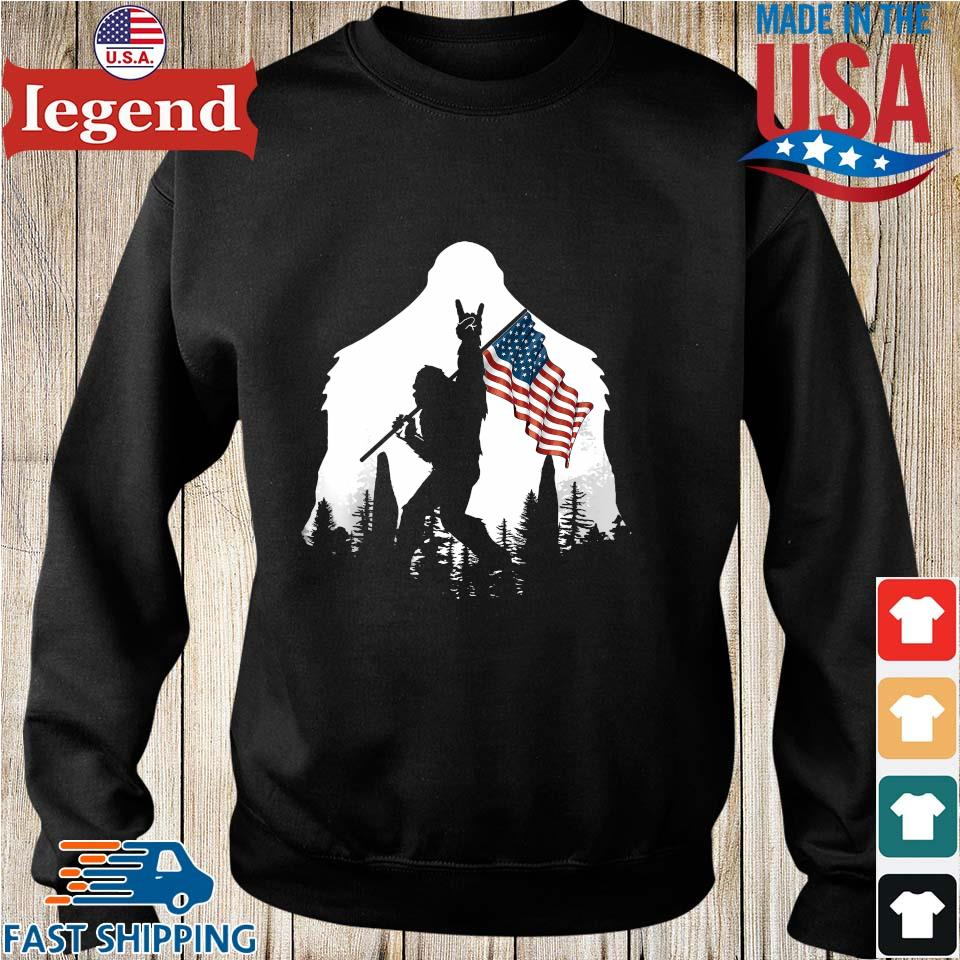 Bigfoot Rock And Roll Silhouette American Flag s Sweater den