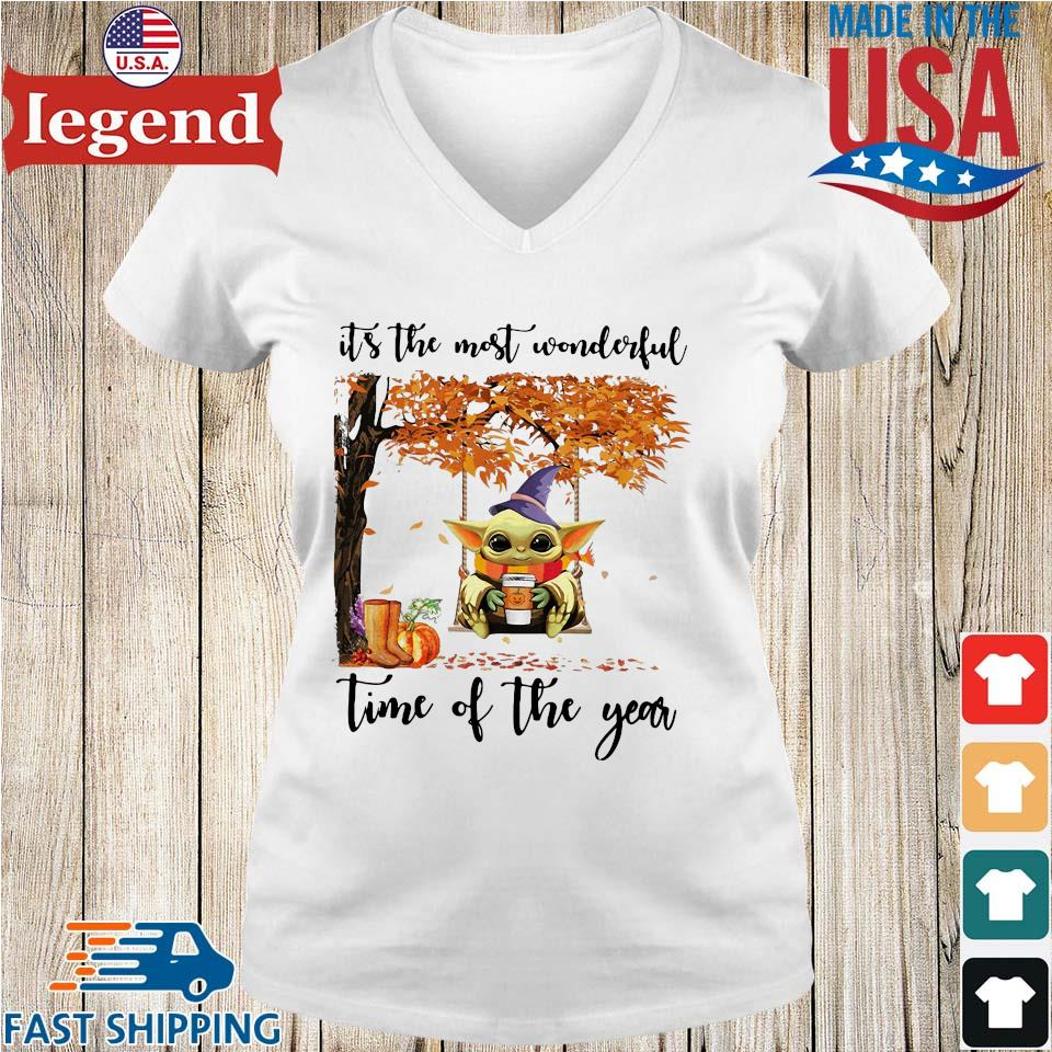 Baby Yoda Halloween it's the most wonderful time of the year s Ladies V-Neck