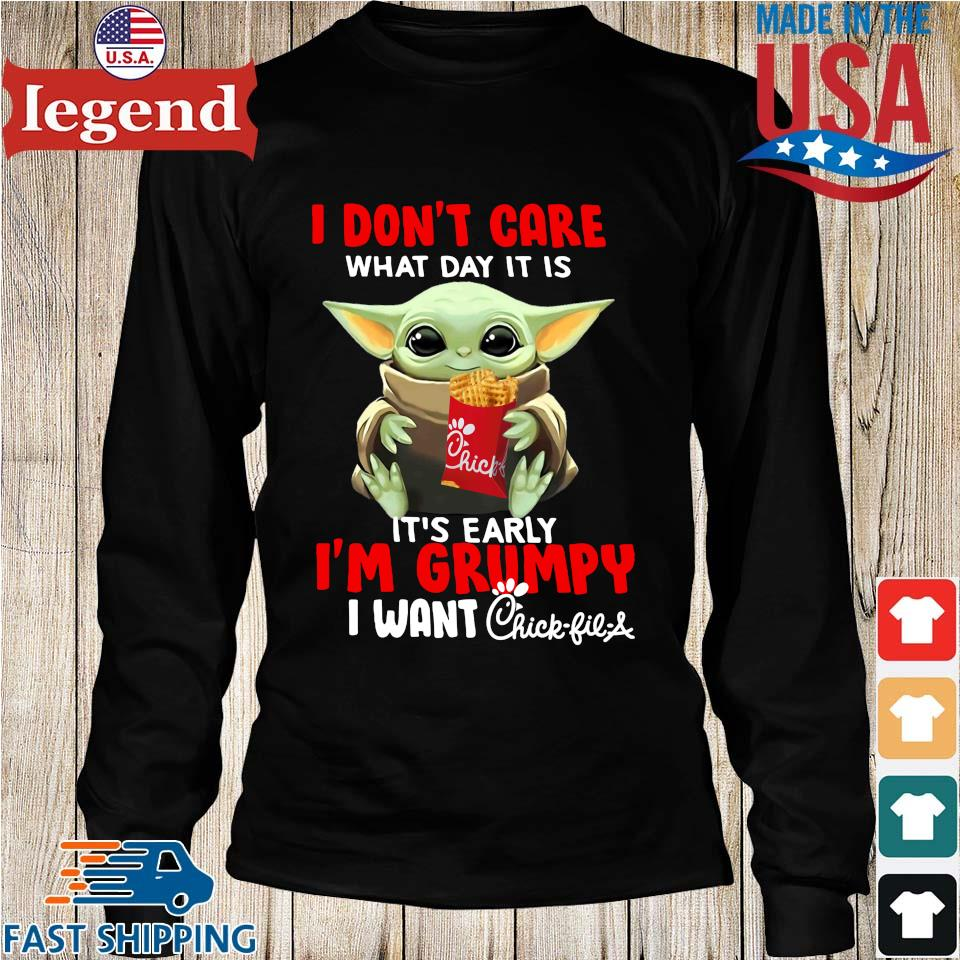 Baby Yoda hug Chick-fil-A I don't care what day it is it's early I'm grumpy I want s Longs den