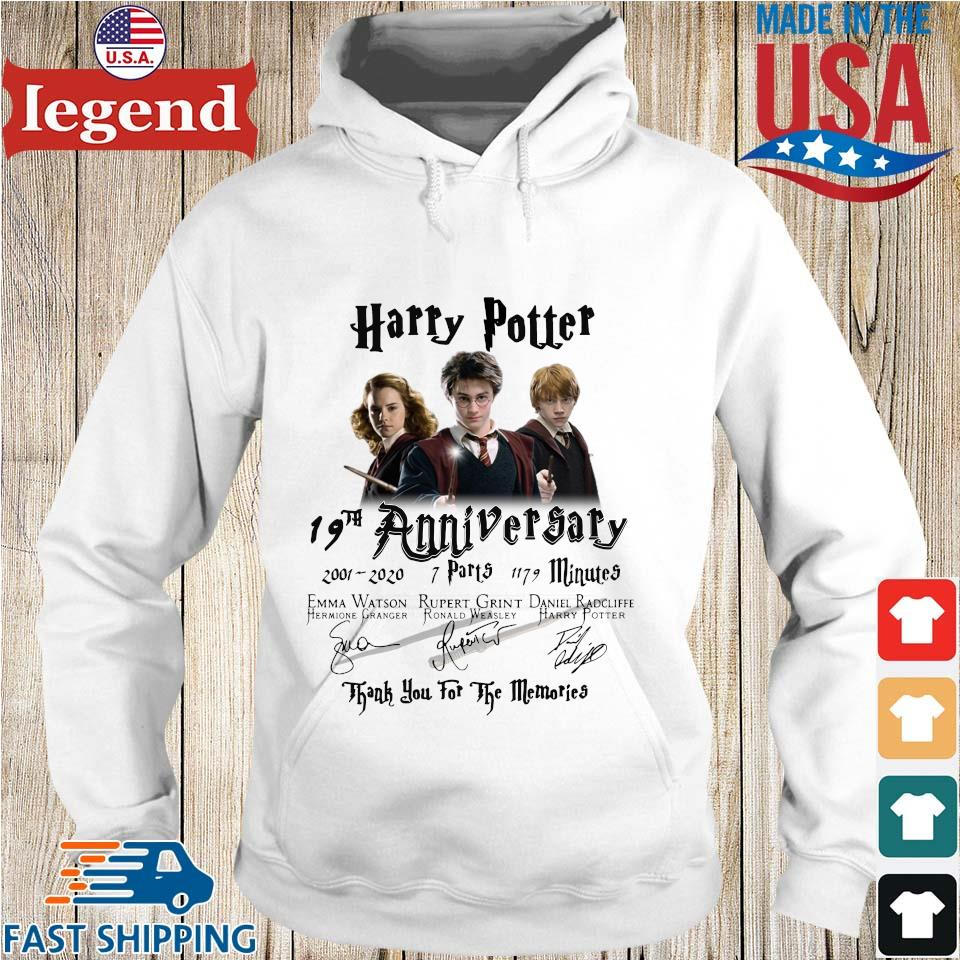 Harry Potter 19th anniversary 2001 2020 thank you for the memories signatures s Hoodie trang