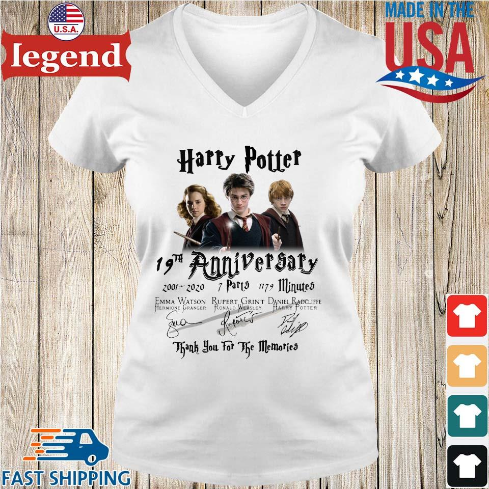 Harry Potter 19th anniversary 2001 2020 thank you for the memories signatures s Ladies V-Neck
