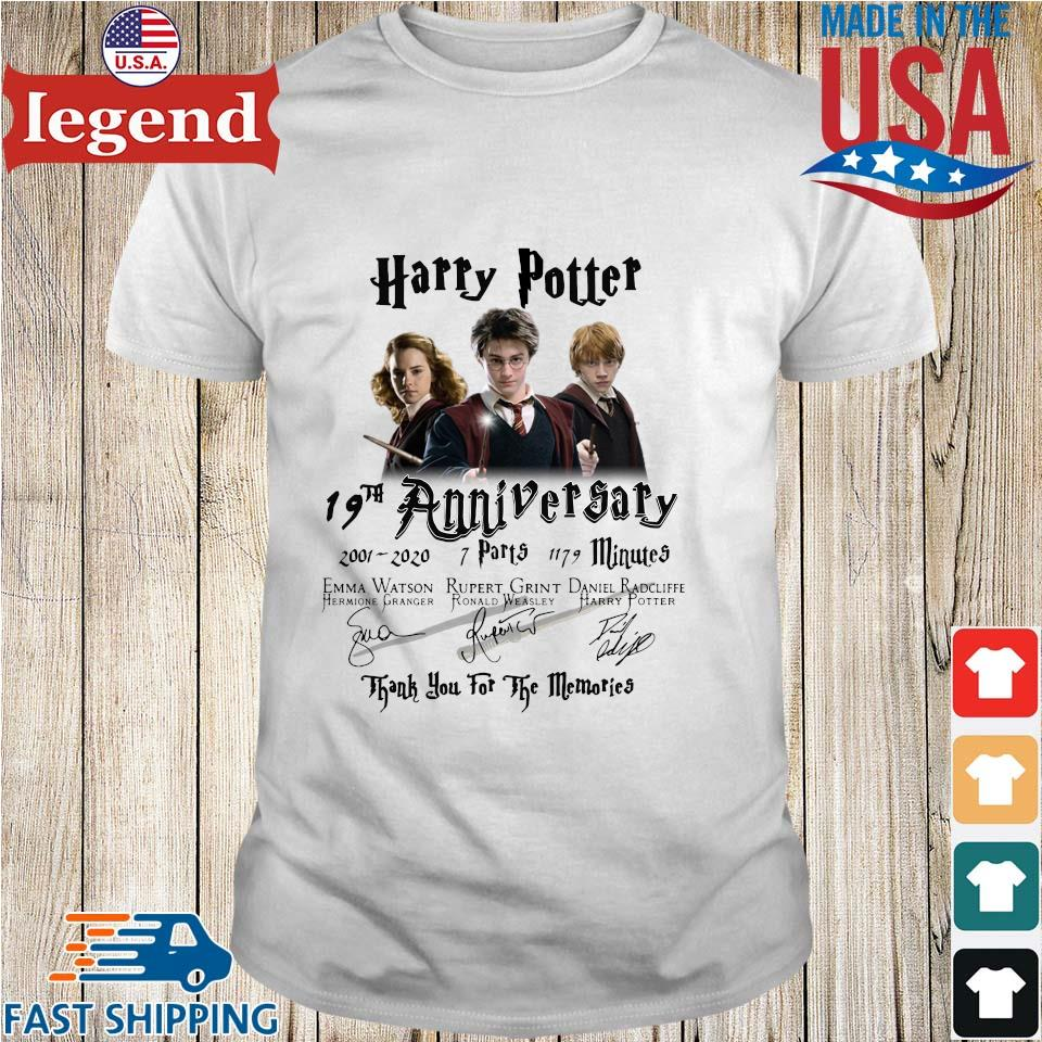 Harry Potter 19th anniversary 2001 2020 thank you for the memories signatures shirt