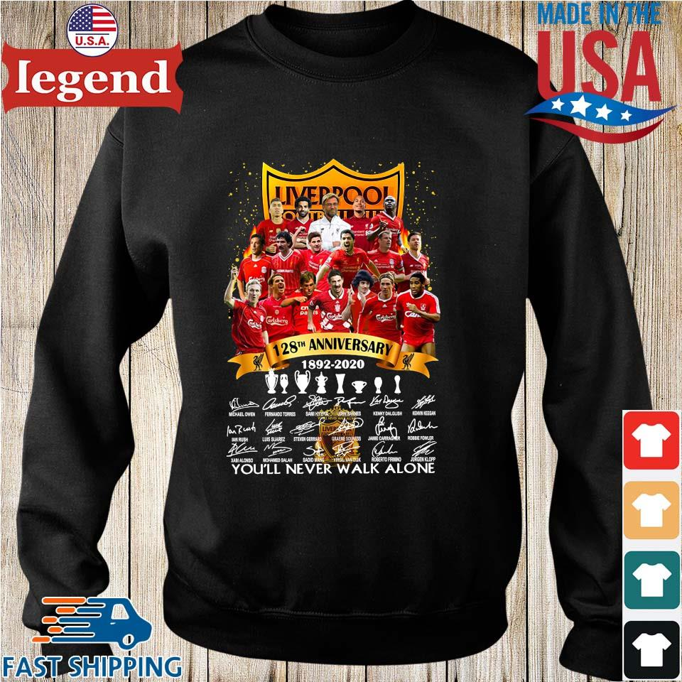 Liverpool Football Club 128th anniversary 1892 2020 signatures you'll never walk alone s Sweater den