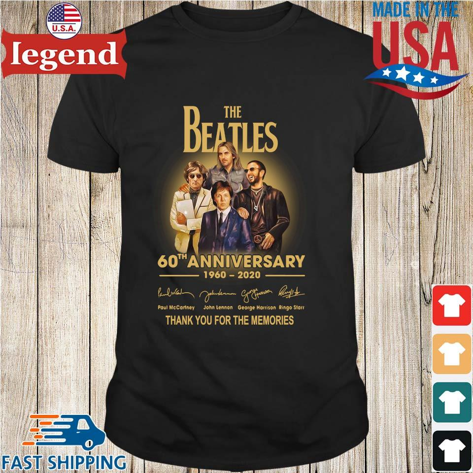 The Beatles 60th anniversary 1960 2020 Paul Mccartney John Lennon thank you for the memories signatures shirt