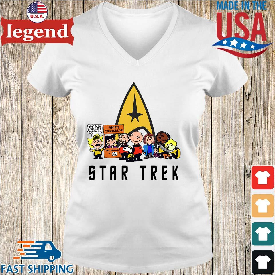 The peanuts Snoopy Charlie with friends star trek s Ladies V-Neck