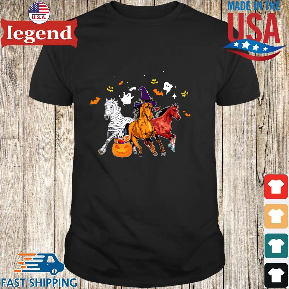 Three horses pumpkin happy Halloween shirt