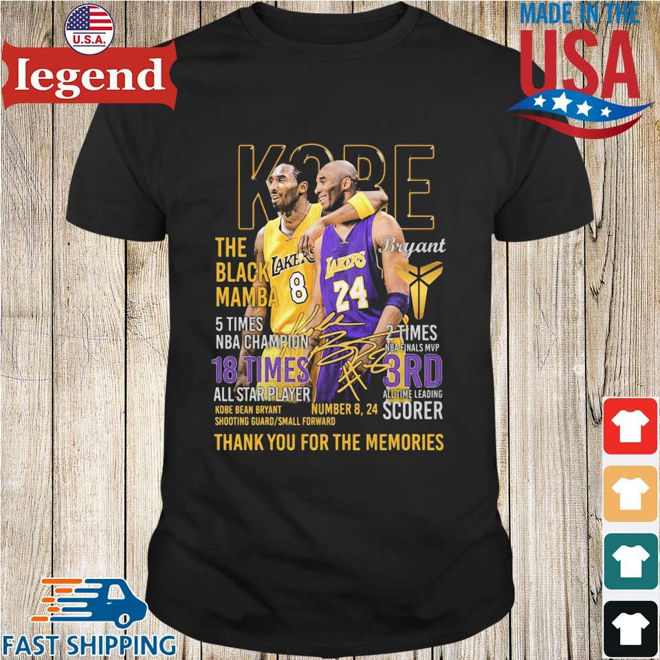 24 Kobe Bryant the black mamba 5 times NBA Champion 18 times thank you for the memories signatures shirt