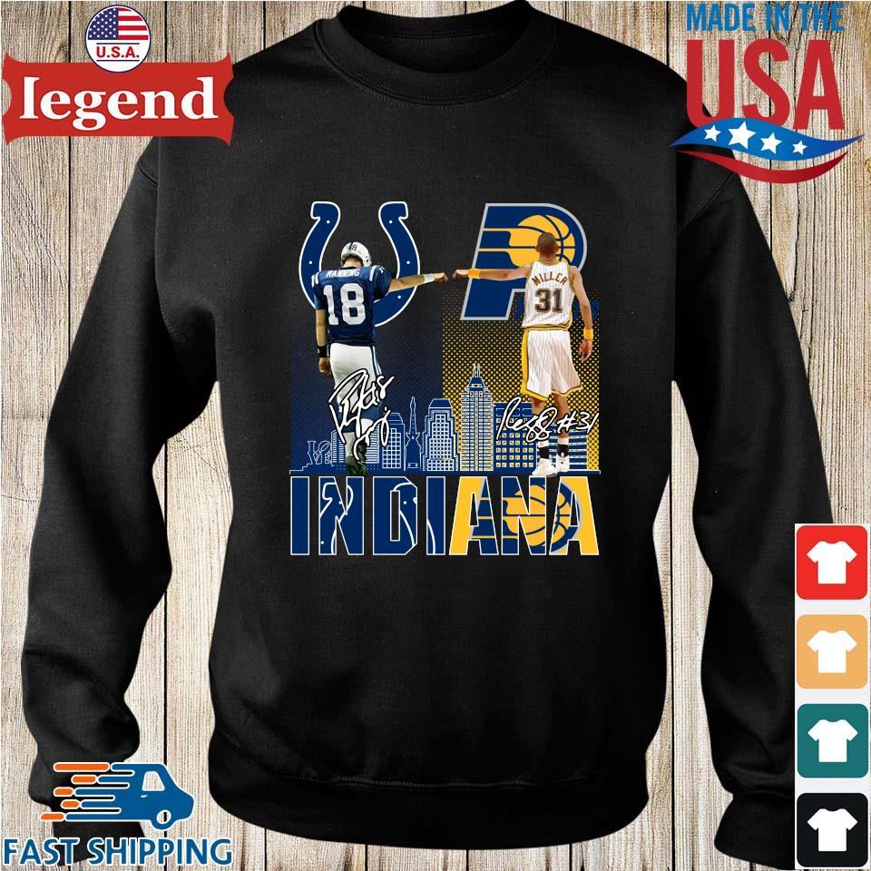 Indianapolis Colts Indiana Pacers Peyton Manning Vs Reggie Miller Signatures Shirt Sweater den-min
