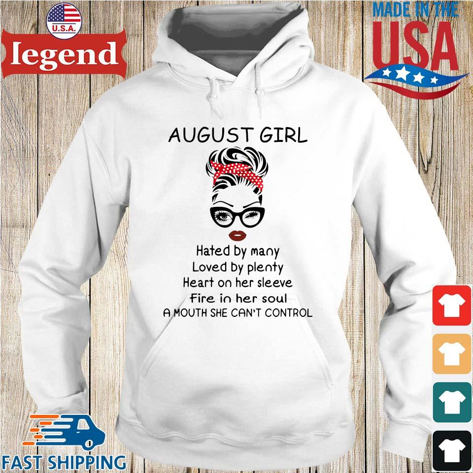 August girl hated by many loved by plenty heart on her sleeve Hoodie trang-min